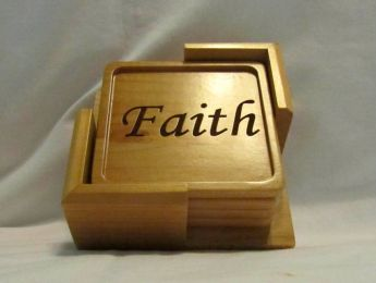 Custom Wood Coaster Set With Holder- Faith, Hope, Love, Joy