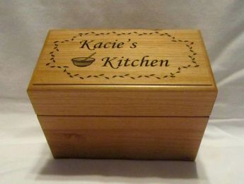 Personalized Wooden Recipe Box- Custom Engraved 3x5