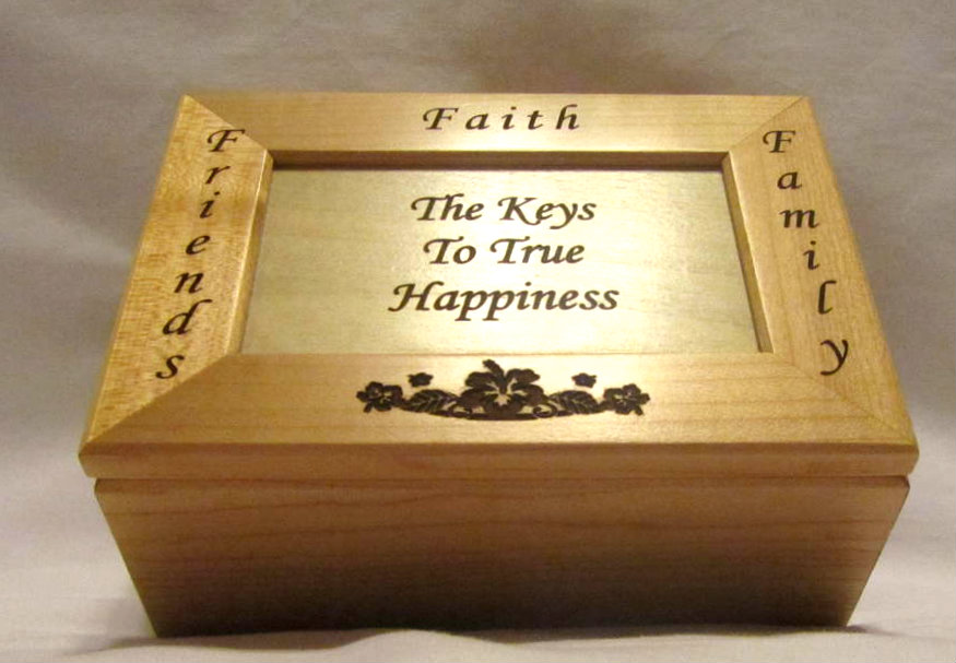 Personalized Wooden Keepsake Box- Key To Happiness