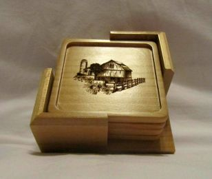 Custom Wooden Coaster Set With Holder - Country Collection