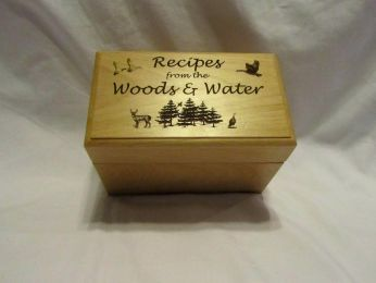 Personalized Wooden Recipe Box- Wild Game Recipes 3x5