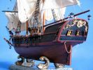 "Wooden Caribbean Pirate Ship Model 26"" - White Sails"